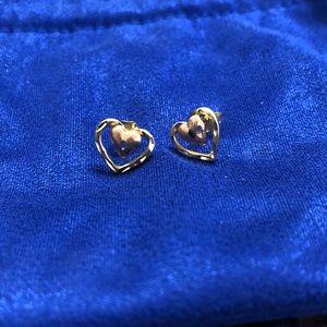 14 K Gold & Rose Gold Heart earrings